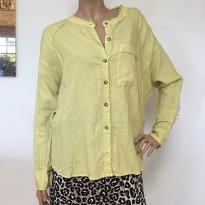 We The Free Sage Green Linen Pirate Blouse Top XS